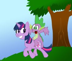 Twilight and Spike Colored by Pembroke