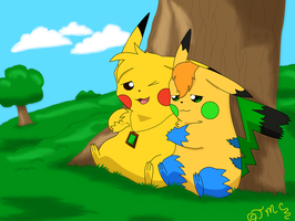 Pikacshu and Dawn by 004-Pika-Jey