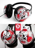 Red Koi Headphones by Bobsmade