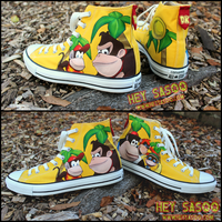 Donkey Kong 64 Custom Shoes - Collage by HeySasoo