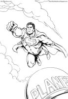 Eighties Superman Flies Again - Line Art by kh27s