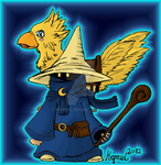 Black Mage and Chocobo by Mqrcel