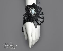Victorian Goth Cuff with lady cameo by vilindery