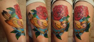 Tattoo - bird and flower by Xenija88