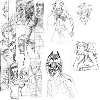 Notebook doodle dump by snakes-on-a-plane