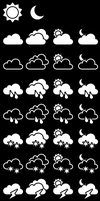 Monochrome Weather Icons - For Pebble by zephyris