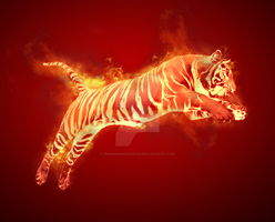 Tiger in Flames by UnknownDuchess