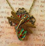 Royal Dragonfly Fused Glass Vintage Style Necklace by FusedElegance