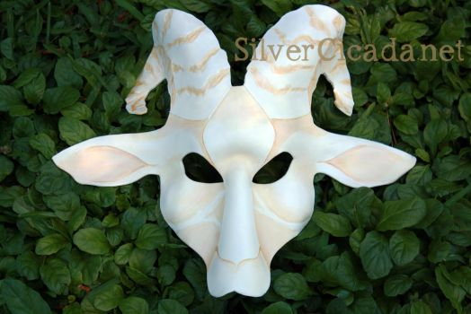 White Goat Leather Mask by SilverCicada