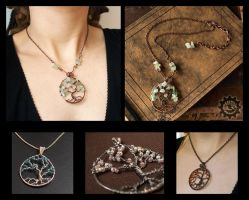 Tree of Life - wire wrapped pendants by ZombieArmadillo