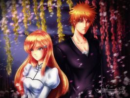 Ichigo and Orihime by AxsenArt