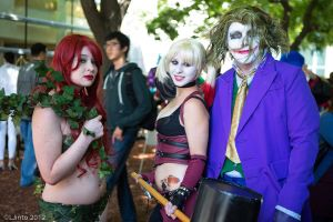Harley, Joker, and Ivy by RaindropCosplay