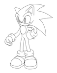 Sonic lineart by LeaoZX