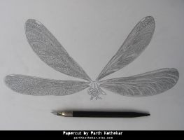 Dragonfly Artwork - Wip Papercut by ParthKothekar