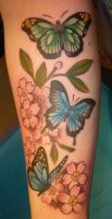 Butterflies and cherry blossoms by BlackStarTattoo