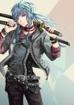 blue hair and katana by PaulineAMOR