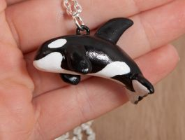 Orca necklace, polymer clay by lifedancecreations