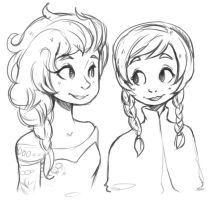 Anna And Elsa by the-secondstar