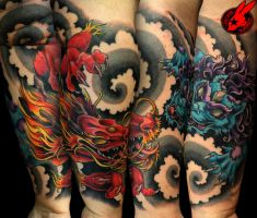 Dragon Foo Dog Tattoo by Jackie Rabbit by jackierabbit12