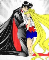 Sailor Moon and Tuxedo Mask by TaraEnsami