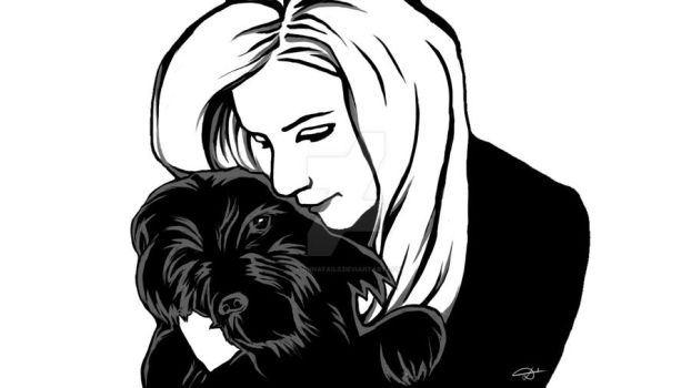 Self Portrait with my Dog by FiannaFail0