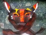 Red and Black Long-Eared Dragon Mask by The-Black-Wolfess