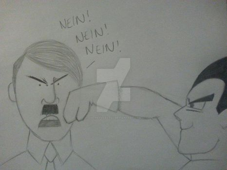 Vegeta Punching Hitler in the Face by CherryVileEtsy