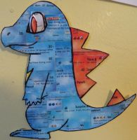Totodile (made from Pokemon cards) by FallwynFeathers