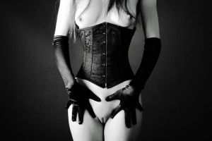 Pale figure with Black Corset by Solus-Photography