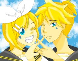 Vocaloid:: Young Rin and Len by aouyu