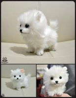 Hand made: Poseable Spitz puppy by MalinaToys