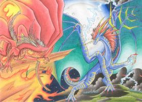 Fire vs. Lightning by Windspirit-Aquaeris