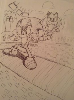Drawing sonic....again...after a long time by Amazingartistred