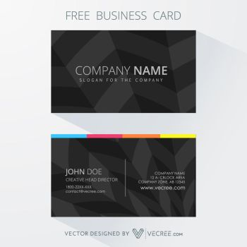 Creative Dark Free Business Card Free Vector by vecree