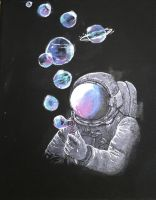 Astronaut Blowing Bubbles by nicolemega