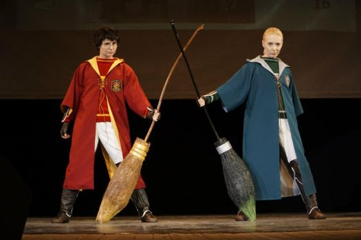 Harry Potter and Draco Malfoy Quidditch by Yosha-kun