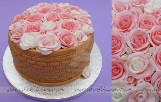 Rose Basket Cake by ginas-cakes