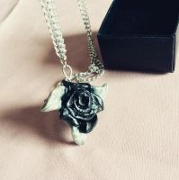 Black rose pendant by BahamutDawnCreations