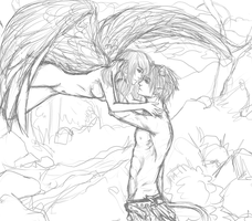 Angel and Demon sketch requestt by PhoenixFeatherz