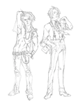 Axis and Rhys Sketch Designs by emilywarrenart