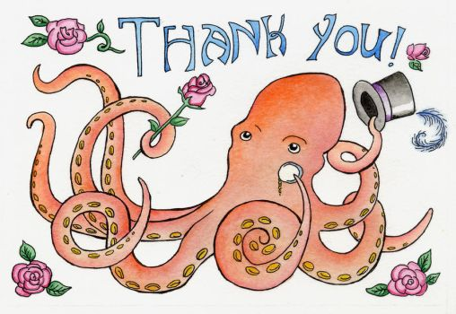 Octopus Thank You Card by gnarlycat