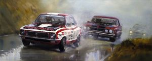 Peter Brock Bathurst 1972 - Painting by donpackwood