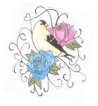 bird and roses by lou987