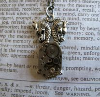 Double Dragon Steam punk gears movements necklace by GraceCM