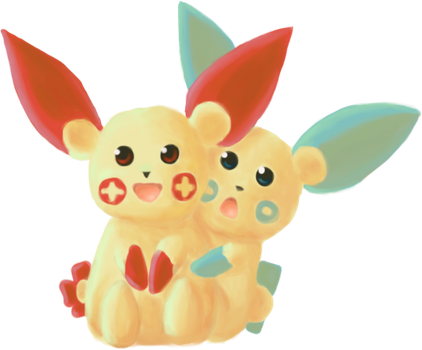 Plusle and Minun by Sma-chan