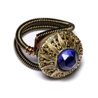 Steampunk Ring Blue Button by CatherinetteRings