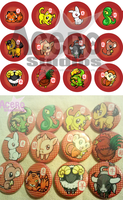 Chinese Zodiac Buttons by AceroStudios