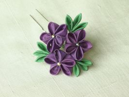Purple ume trio kanzashi by elblack