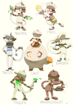 Smeargle variations by PinkGermy