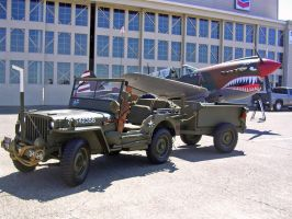 P-40 and Jeep by BaronGirl